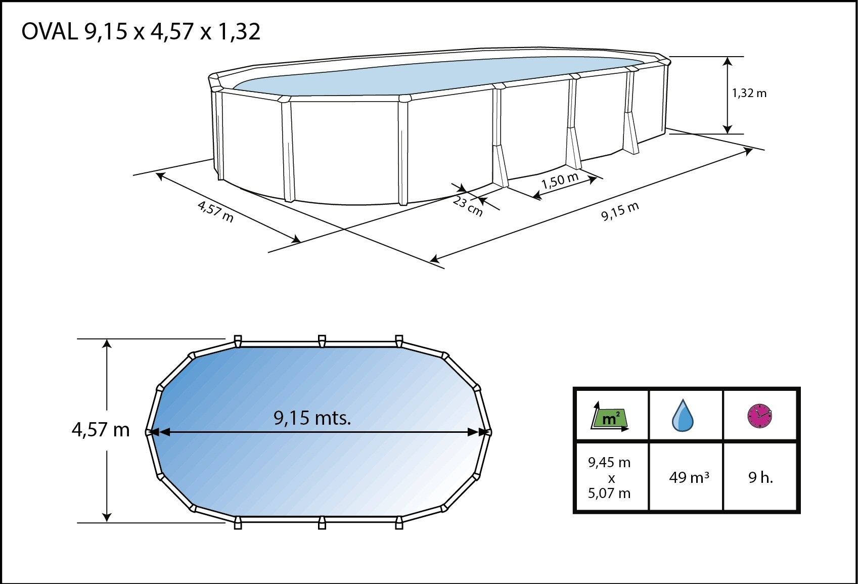 Buttress Free Oval Pool - 9.14m x 4.57m x 1.32m