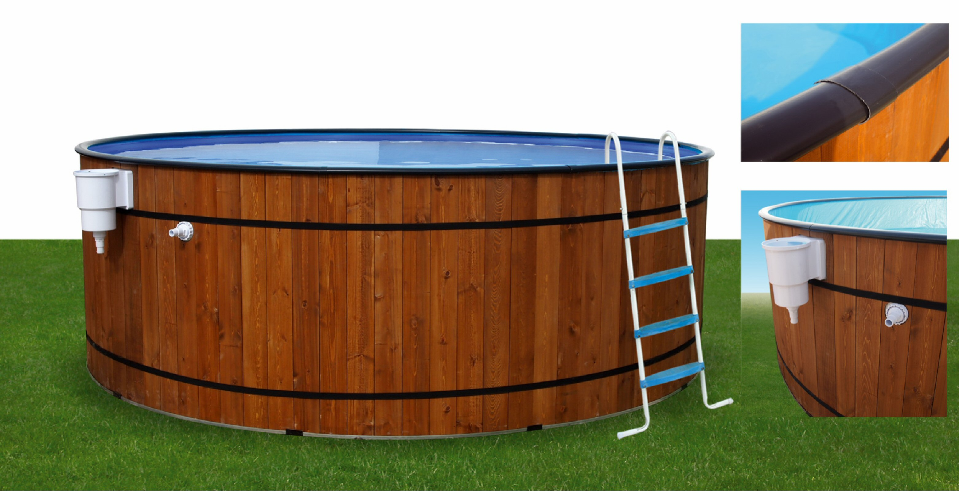 Barrica wooden pool round barrica wooden pools for Wooden pool