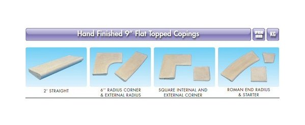 "9"" Flat Topped Copings - Square External Corner"