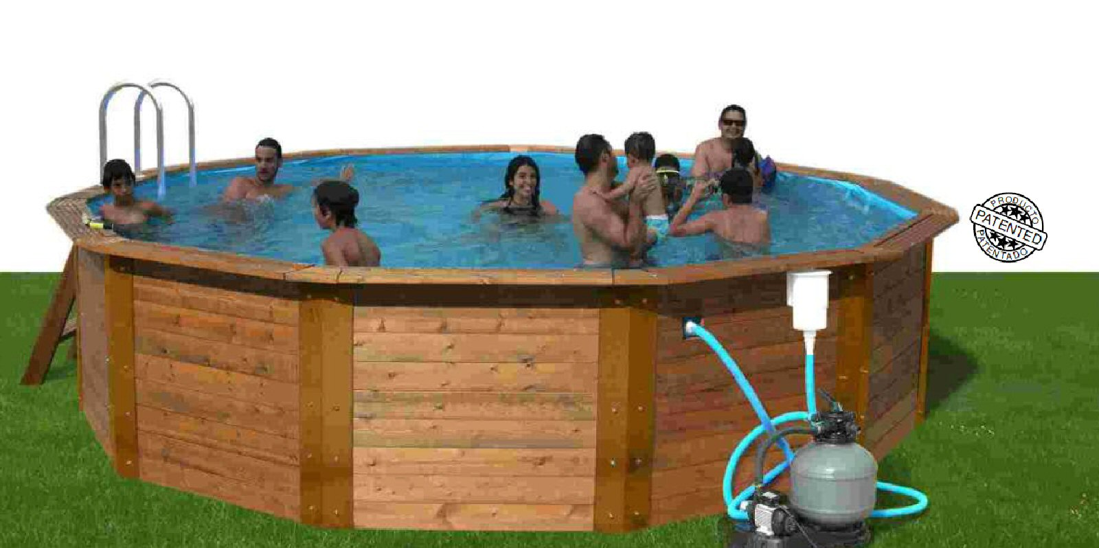 The Nativa Wooden Pool- Steel Supports -Ext/275cms Int/240cms